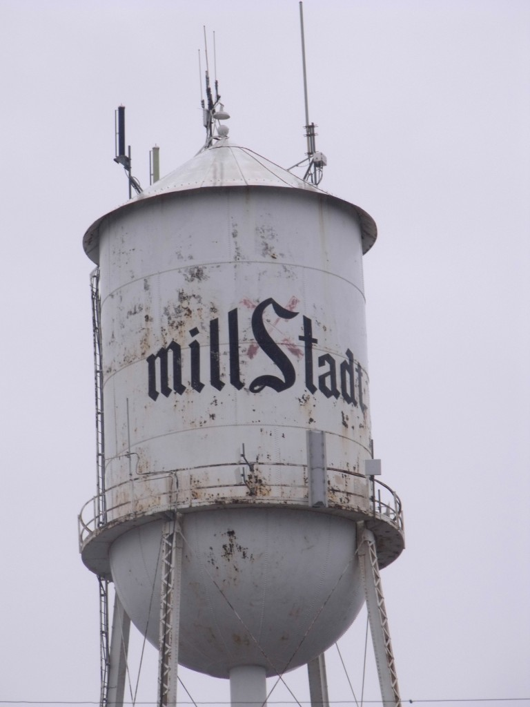Pictured is the old Millstadt water tower. (Corey Saathoff photo)