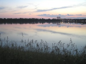 A photo of high water along the Fish Lake levee in Columbia in July 2008.