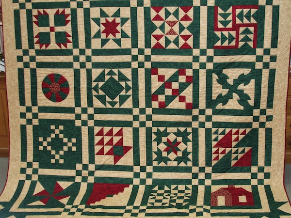 A quilt commemorating the 125th anniversary of the founding of the city of Waterloo will be raffled off this summer. The quilt is on display at Raccoon Hollow Fabrics, where raffle tickets can be purchased. (Andrea Degenhart photo)