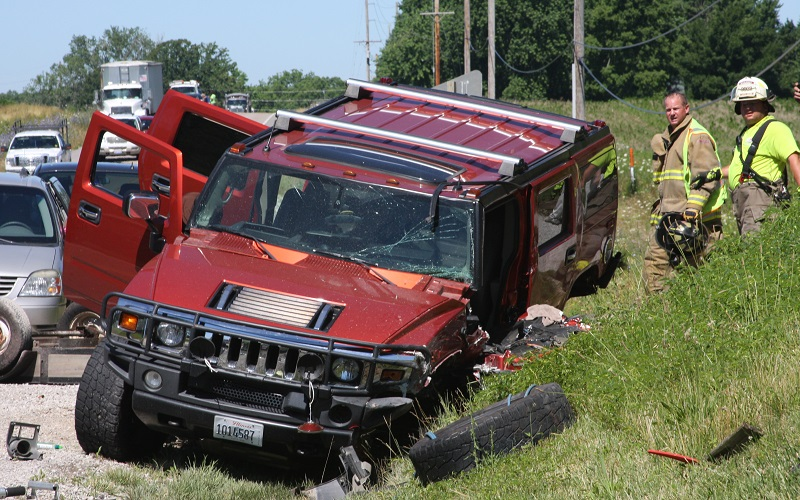 Pictured is the Hummer that was struck nearly head-on by a Pontiac Grand Am around 10 a.m. Thursday on Route 158 just outside of Columbia. The female driver of the Hummer was transported by ambulance to an area hospital for treatment of minor injuries. The driver of the Grand Am was airlifted to a St. Louis hospital with serious injuries that were not considered life-threatening. (Corey Saathoff photo)
