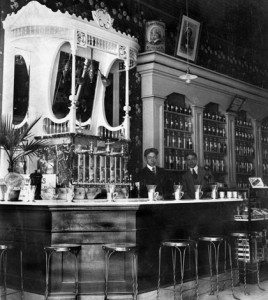 Pictured is the old soda fountain in Hamacher's Drug Store on Main Street in Waterloo, which drew big crowds back in the day. Steve Wightman's greatgrandfather, A.P. Hamacher, is pictured with an employee at right. Wightman believes the photo was takSee GIBAULT 2A en in the 1920s or '30s. (submitted photo)