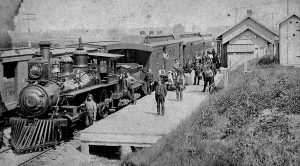 Rail service came to Monroe County in 1866. Pictured is Engine 73 and several cars at an undetermined date, believed to be part of the Golf, Mobile and Ohio railroad. (submitted photo)
