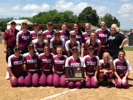 The Dupo softball team poses with its sectional championship plaque following a 2-1 win at Gillespie on Saturday.