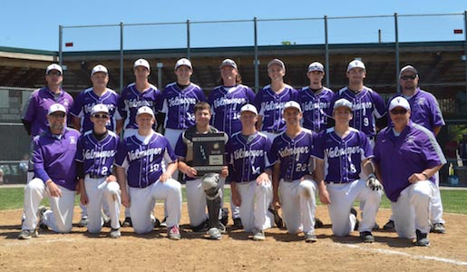 The Valmeyer baseball team poses with its regional plaque on Saturday. (Corey Saathoff photo)
