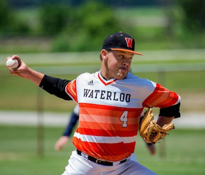Waterloo's Noah Thaggard pitches in the recent Monroe County Tournament. (Alan Dooley photo)