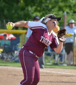Dupo's Jessica Stansch delivers a pitch in the IHSA Class 2A state semifinal at EastSide Centre in East Peoria on Friday. (Corey Saathoff photo)