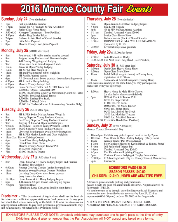monroe county fair schedule of events
