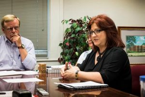 Pictured, Violence Prevention Center Executive Director Darlene Jones explains to the county board the details of cuts to the center's funding while county clerk Dennis Knobloch looks on. (Alan Dooley photo)