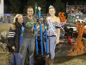 Pictured are first and second place winners in the compact class of Friday's demo derby, Tony Brellinger and Dana Schwering. (Judy Brinkmann photo)