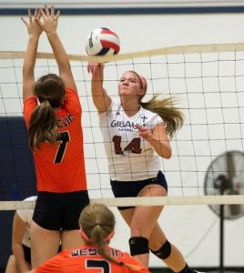 Gibault's Kelly Dooley spikes the ball against Wesclin on Thursday. For more photos, visit www.republictimes.net/photo-store. (Alan Dooley photo)