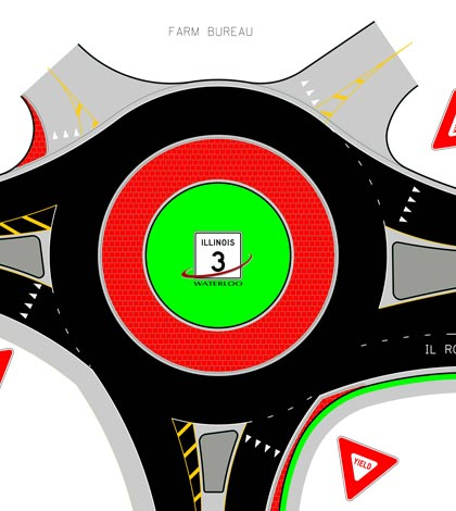 Pictured is an engineering graphic of the proposed roundabout to be constructed on Route 156 at Lakeview Drive just west of Route 3 in Waterloo. (courtesy of Illinois Department of Transportation)