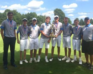 Pictured is the Columbia High School boys golf team with its first place trophy at Saturday's Okawville Invitational. (submitted photo)