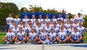 The members of the 2016 Columbia High School varsity football team are, from left, front row, Shane Wilhlem, Brandon Kuchinski, Eli James, Jared Germain, Josh Marion, Tyler Jachino and Tyler Strickland; second row: Devan Ward, Blake Wagner, Rob Simmonds, Colton Byrd, Jack Goacher, Dylan Hildebrand, Ethan Gamble, Brendon Gamble and Ryan Probst; third row: Bryant Goacher, Jarrett Allscheid, Greg Long, Shane Hoock, Owen Suedkamp, Liam Knox, Cole Napier, John Marion and Jace O'Connell; row four: Chris Schreckenberg, Mitch Huebner, Hunter James, Mitch Daniels, Jordan Holmes, Braden Meyers, Connor Garcia, Cole Khoury, Matt Muehlher, Tom Prindiville and Kyle Schreckenberg; and back row: coaches Ron Hunsaker, Kyle Stumpf, Matt Kendall, head coach Scott Horner, Brian Bidlack and Scott Germain. (Corey Saathoff photo)