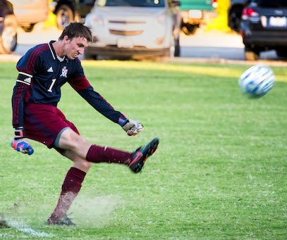 Gibault goalkeeper Trevor Davis kicks the ball deep down the field on Monday. For more photos from the match, click here. (Alan Dooley photo)