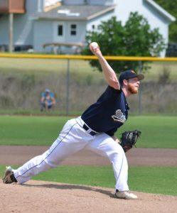 Nick Hummel pitches for the Waterloo Millers on Sunday in Belleville. (Corey Saathoff photo)