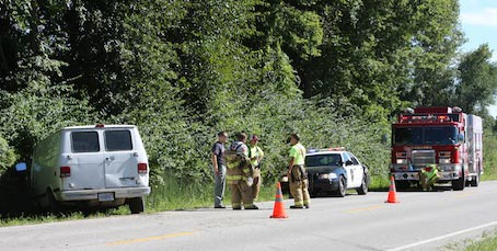 Pictured is the crash scene on Old State Route 3 in Columbia on Monday. (Sean McGowan photo)