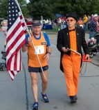 Pictured is retired U.S. Navy submariner Sid Busch with Hills and Hollows race organizer Marvin Fisher during Saturday's event in Valmeyer. (Alan Dooley photo)
