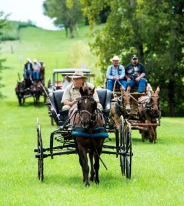 Buddy Allscheid leads the Kaskaskia-Cahokia Trail ride Saturday outside of the Bellefontaine House in Waterloo.