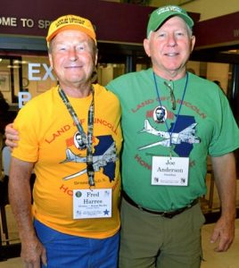 Veterans selected to travel to Washington, D.C. on the Land of Lincoln Honor Flight are paired with a guardian for the duration of the trip. Pictured is Fred Harres with guardian Joe Anderson. (submitted photo)