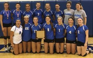 Pictured is the Columbia High School volleyball team with its first place trophy after winning the Marissa-New Athens Invitational Tournament on Thursday. (submitted photo)
