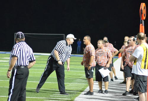 Waterloo head football coach Dan Rose is ejected after two personal foul penalties were assessed to the sideline for arguing with officiating during Friday's contest at Columbia. (Corey Saathoff photo)