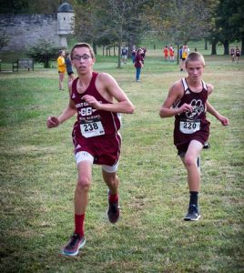 Gibault's Jacob Muehlher and Dupo's Nathan Taylor run in the Les Coureurs des Bois race at Fort de Chartres last Tuesday.