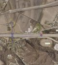 Pictured is an aerial photo with markings to show where a proposed new interchange will be constructed on I-255 near Dupo. (photo provided)