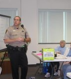 Pictured, Waterloo Police Department's Scott Spencer informs Senior Police Academy attendees about the dangers senior citizens face on the road, as well as what driving restrictions the elderly could be subjected to Oct. 12. (Sean McGowan photo)