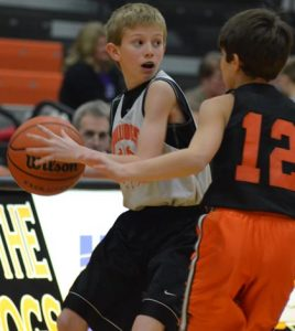 Pictured, youth basketball players compete during a scrimmage held at halftime of a Waterloo High School varsity basketball game a couple of years ago. (Corey Saathoff photo)
