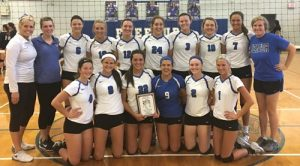 Pictured is the Columbia volleyball team with its first place award following Saturday's Monster Mash tournament in Freeburg. (submitted photo)
