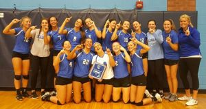 Pictured is the Columbia High School volleyball team following its first place finish in the Metro Classic tournament in Belleville on Saturday. (submitted photo)