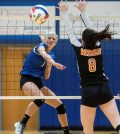 Columbia's Shea Bradshaw slams home a winning point against Waterloo in the regional final on Thursday. For more photos from the match, visit www.republictimes.net/photo-store. (Alan Dooley photo)