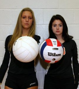 Pictured, from left, are Waterloo volleyball seniors Kat Finnerty and Megan Gilliam, who were instrumental in the team's 22-10 record this season. (Kermit Constantine photo)