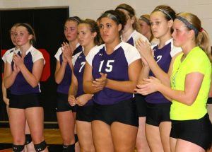 Pictured, the Valmeyer volleyball team reacts following Thursday's loss to Norris City in the sectional final. (Kermit Constantine photo)