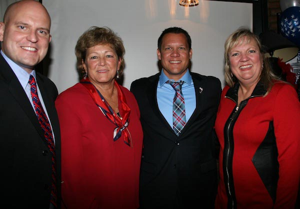 Pictured, from left, Republican candidates Chris Hitzemann (state's attorney), Vicki Koerber (county commissioner), Bob Hill (coroner) and Lisa Fallon (circuit clerk) celebrate their victories at Gallagher's in Waterloo on election night. (Kermit Constantine photo)