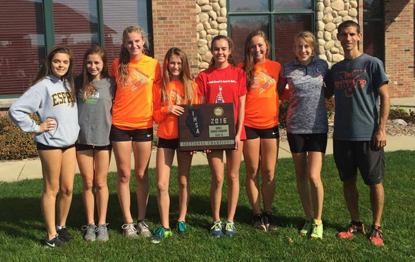 Pictured is the Waterloo High School cross country team with its sectional championship plaque, from left, Ella King, Colleen Sliment, Heather Elliott, Sydney Haddick, Jenna Schwartz, Libby Price, Mandy Kraus and head coach Larry Huffman. (submitted photo)