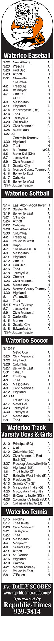 Waterloo Sports Schedules 2017-2018