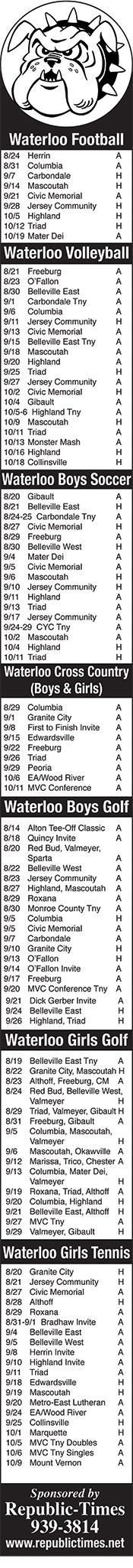 Waterloo Sports Schedules 2018-2019